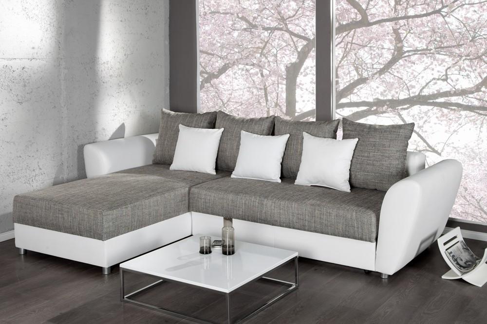 Canapé D'angle Convertible Gris Blanc