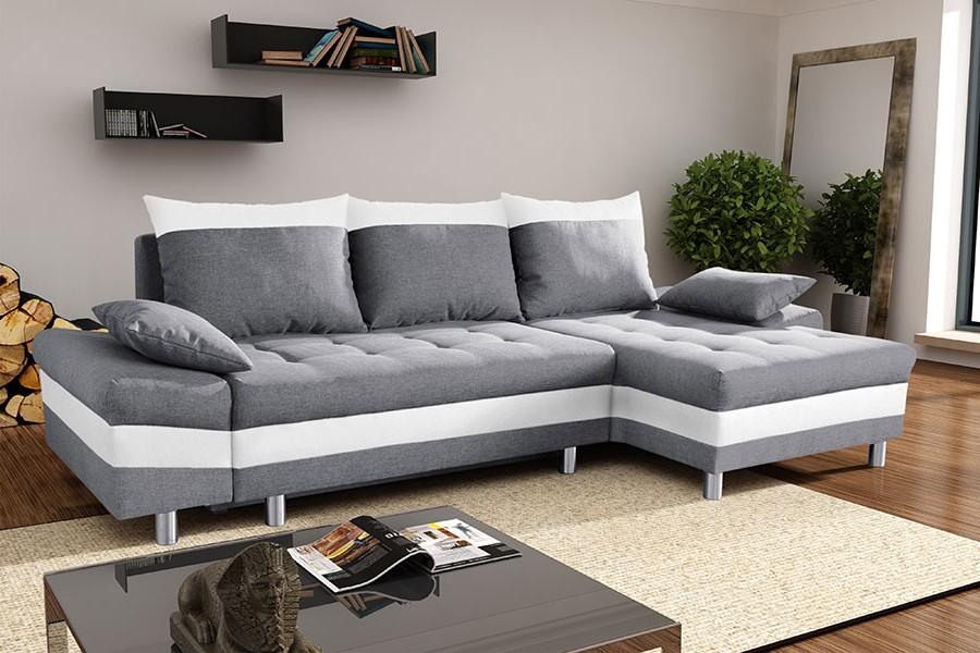 Canapé D'angle Convertible Gris Et Blanc
