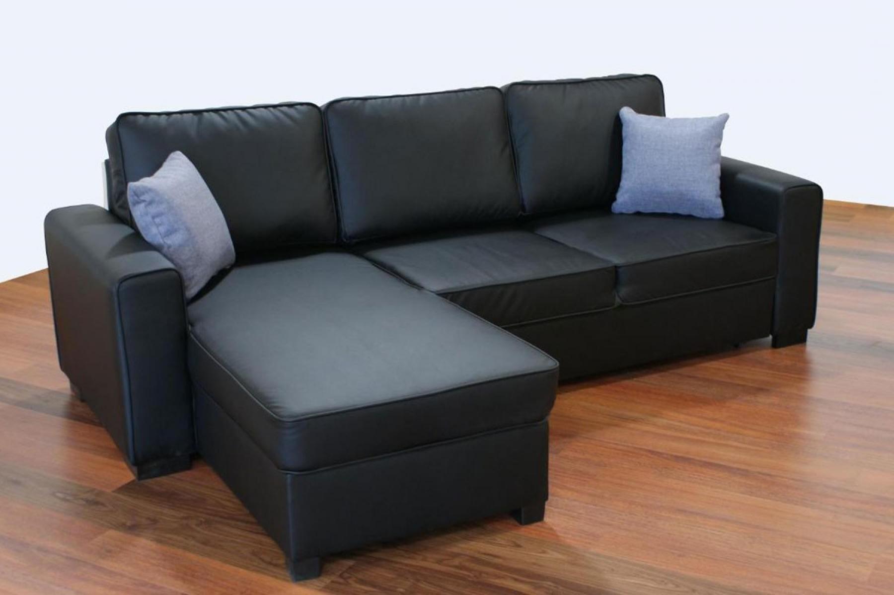 Canapé D'angle Convertible Noir Cuir
