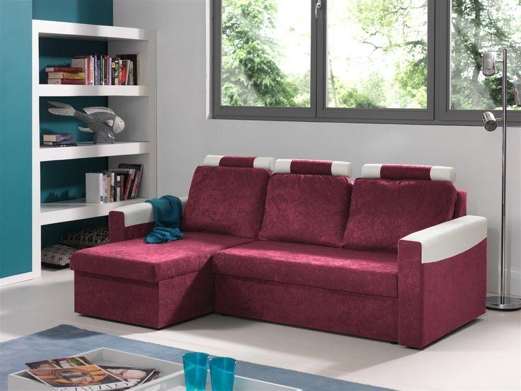 Canapé D'angle Convertible Réversible Microfibre Coloris Gris Blanc Vera