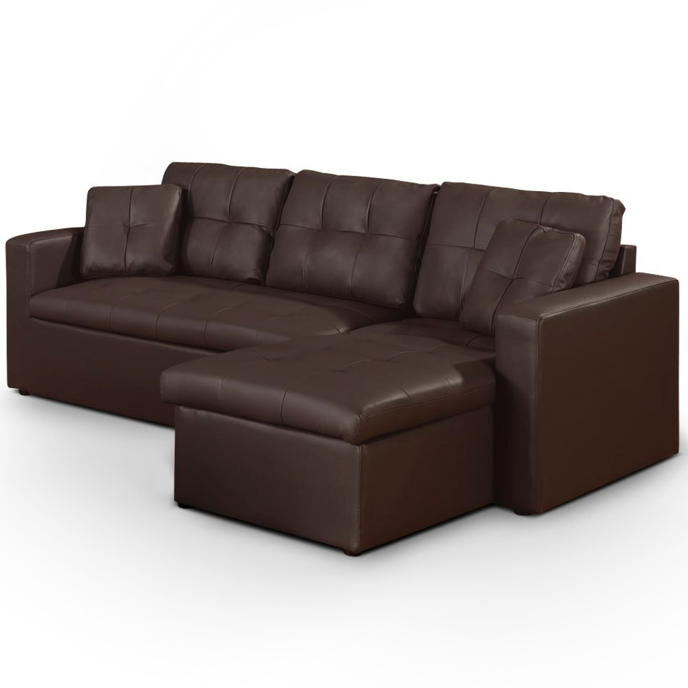 Canapé D'angle Convertible Simili Cuir Marron