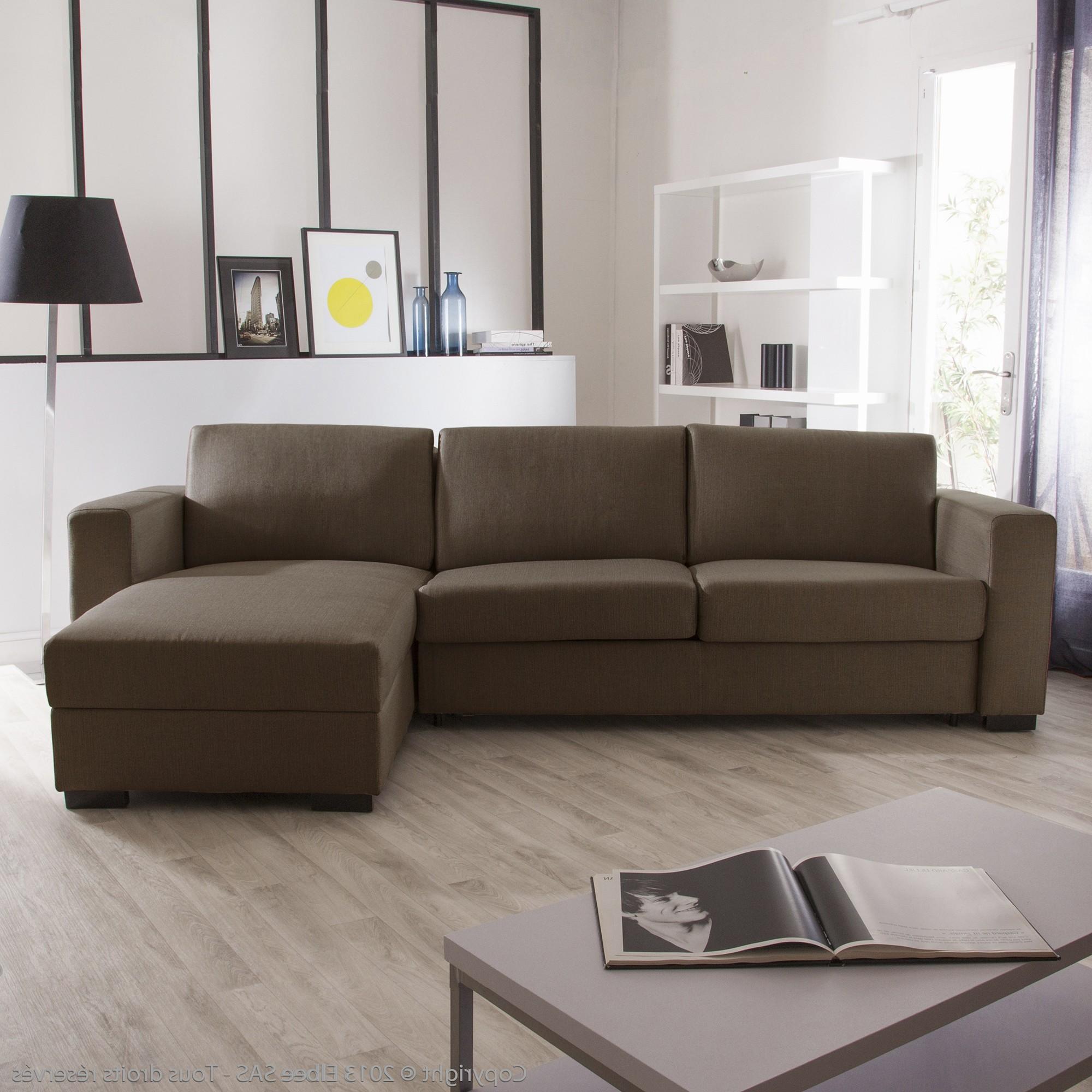 Canapé D'angle Convertible Tissu Beige