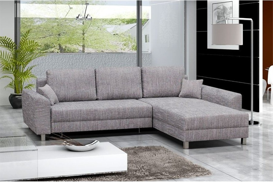 Canapé D'angle Convertible Tissu Blanc