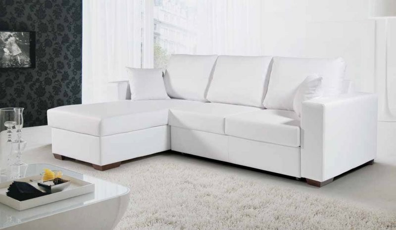 Canapé D'angle Cuir Blanc Convertible