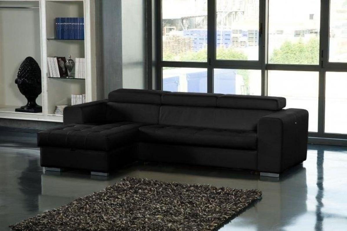 Canapé D'angle Cuir Convertible Avec Coffre De Rangement