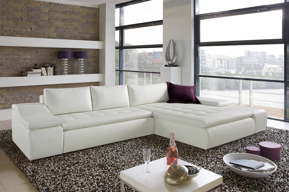 Canapé D'angle Cuir Convertible Blanc