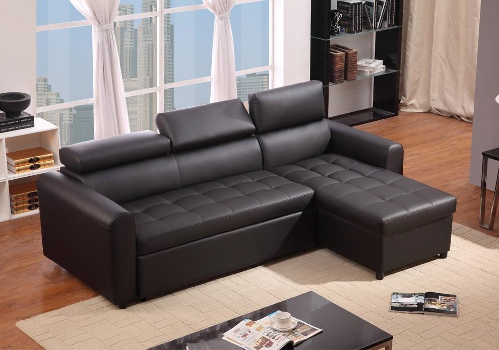 Canapé D'angle Cuir Noir Convertible