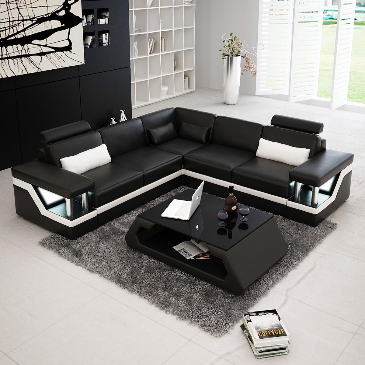 Canapé D'angle Cuir Noir Et Blanc
