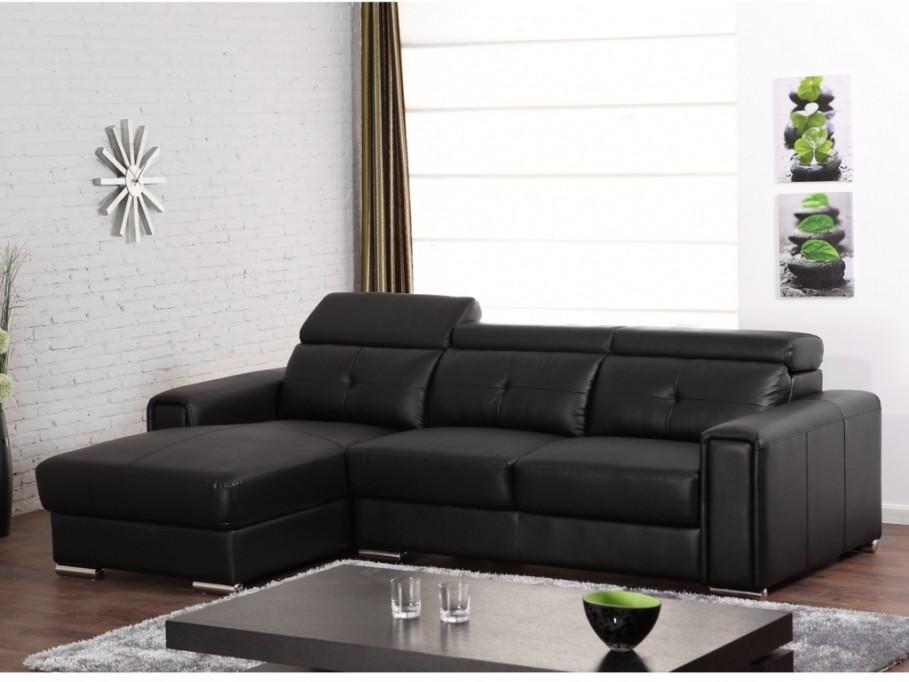 Canapé D'angle Cuir Noir