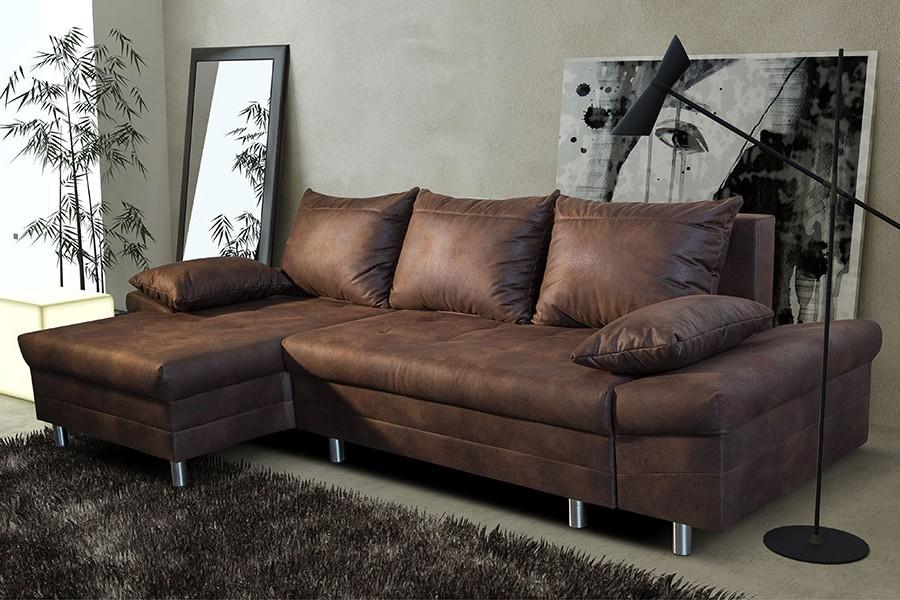 Canapé D'angle Cuir Vieilli Marron