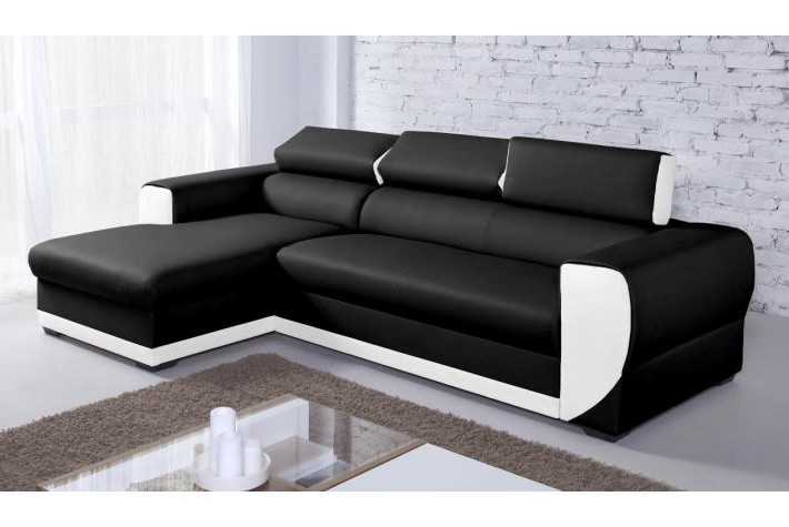 Canapé D'angle Simili Cuir Noir Et Blanc