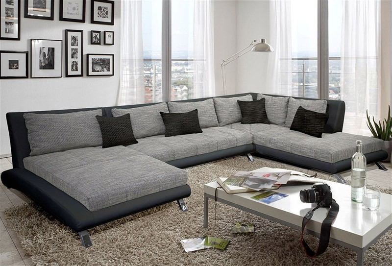 Canapé Panoramique Tissu Gris