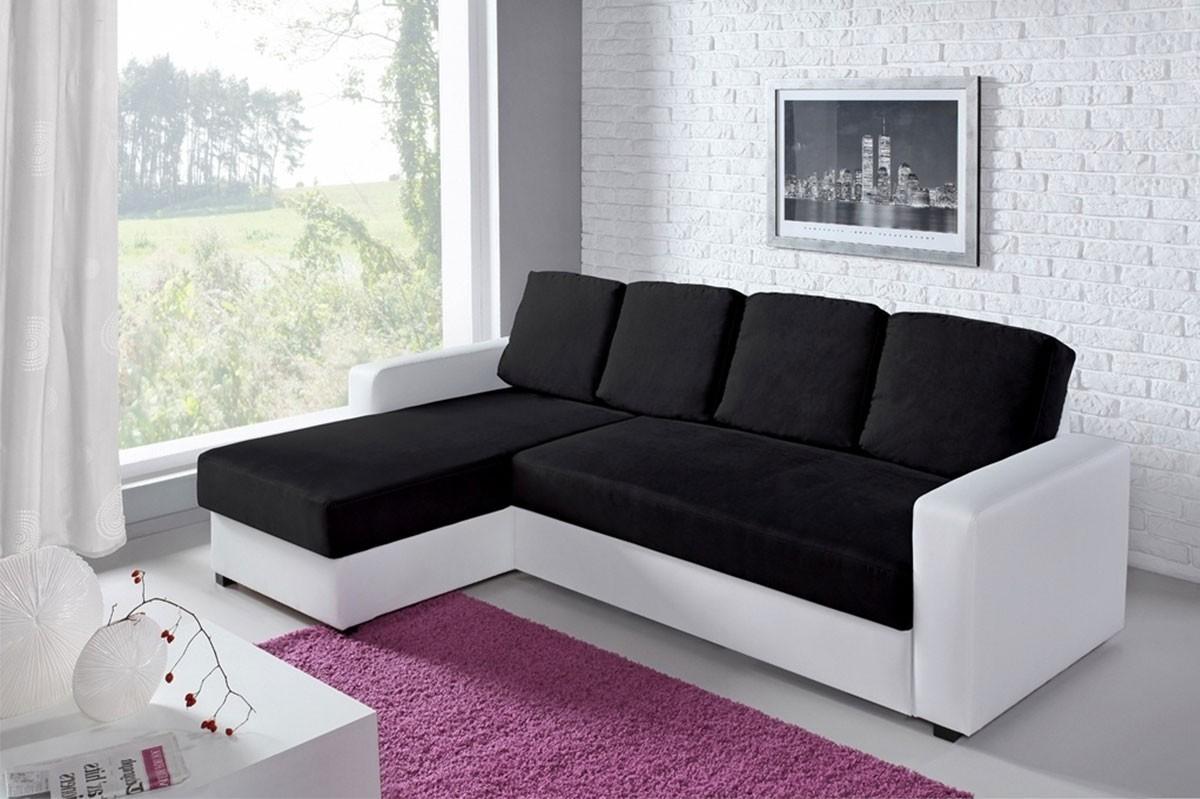 Canape Angle Convertible Noir Et Blanc