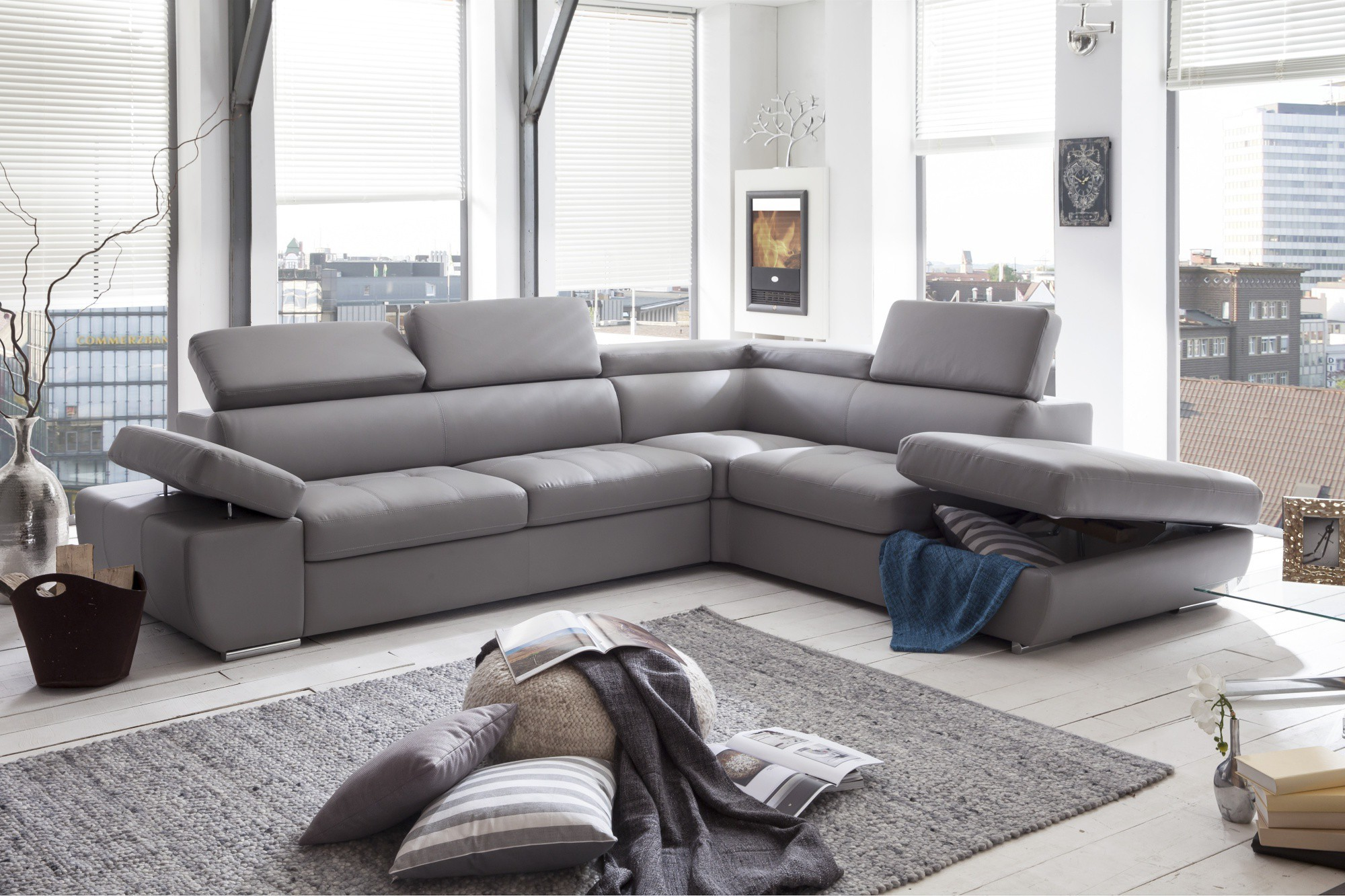 Canape Angle Convertible Simili Cuir Gris