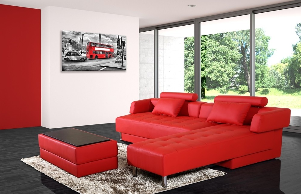 Canape D'angle Convertible Reversible Rouge