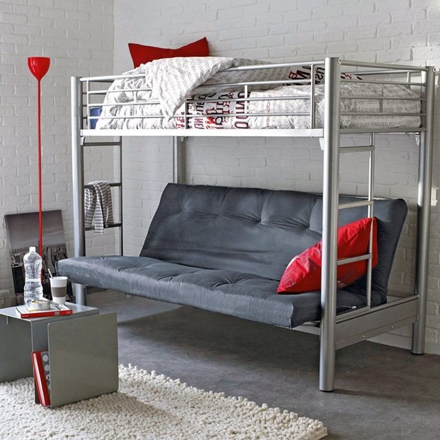 Mezzanine 1 place latest lit mezzanine place blanc table for Lit mezzanine 1 place bois