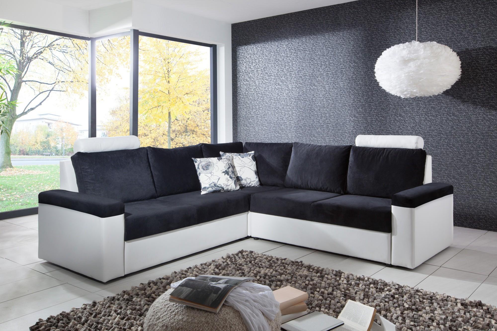 New Canapé D Angle Convertible Noir Et Blanc