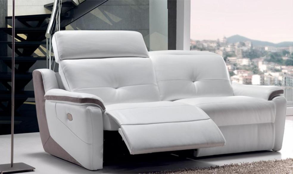 Canapé 2 Places Relax électrique Cuir Arena Blanc