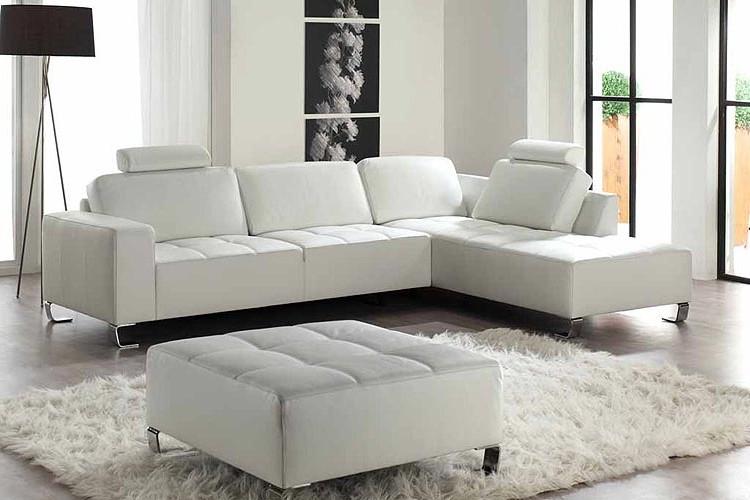 Canapé Angle Cuir Blanc Design