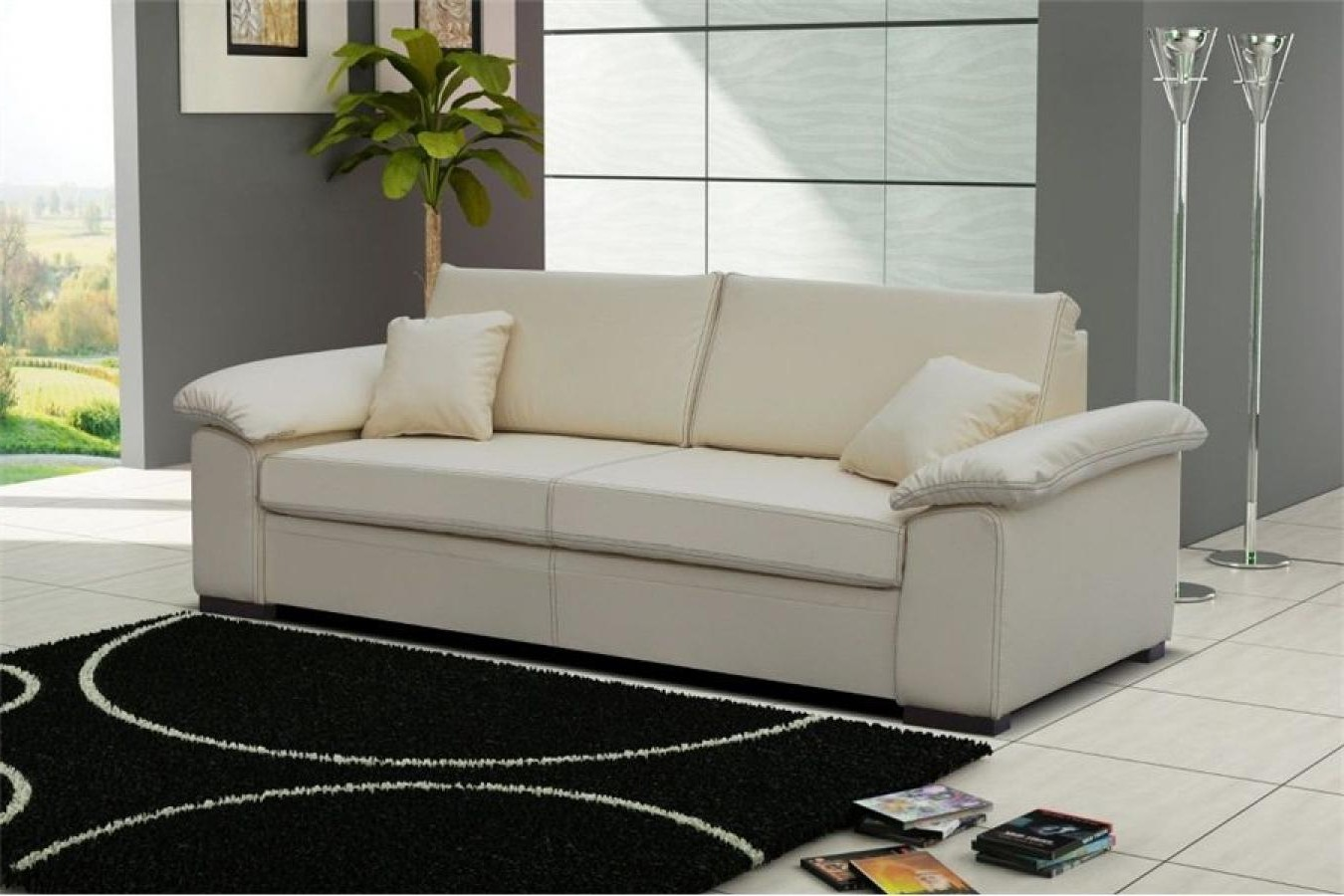 Canapé Convertible Cuir Blanc 3 Places Manhattan