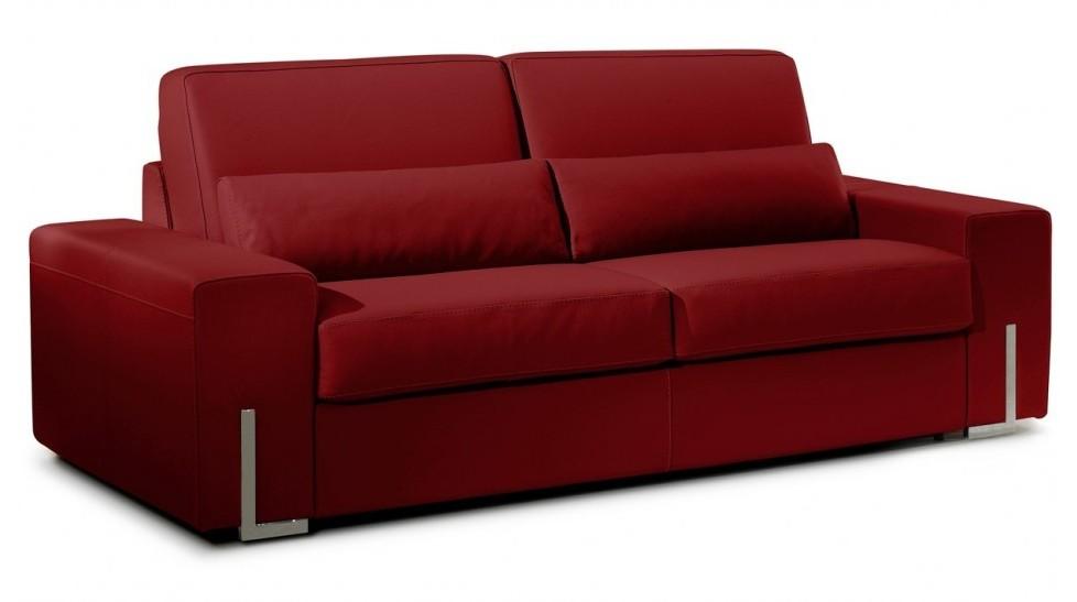 Canapé Convertible Cuir Rouge 3 Places