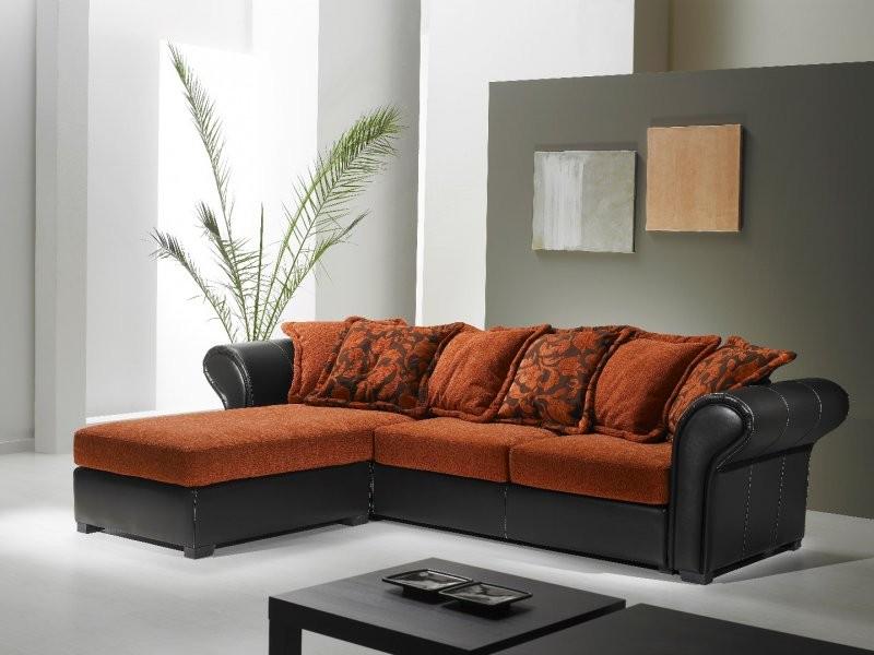 Canapé Cuir Et Tissu D'angle