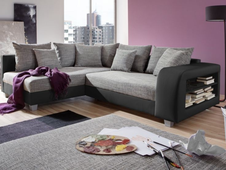 Canapé D Angle Convertible Design En Tissu Et Pu Polyuréthane Massimo