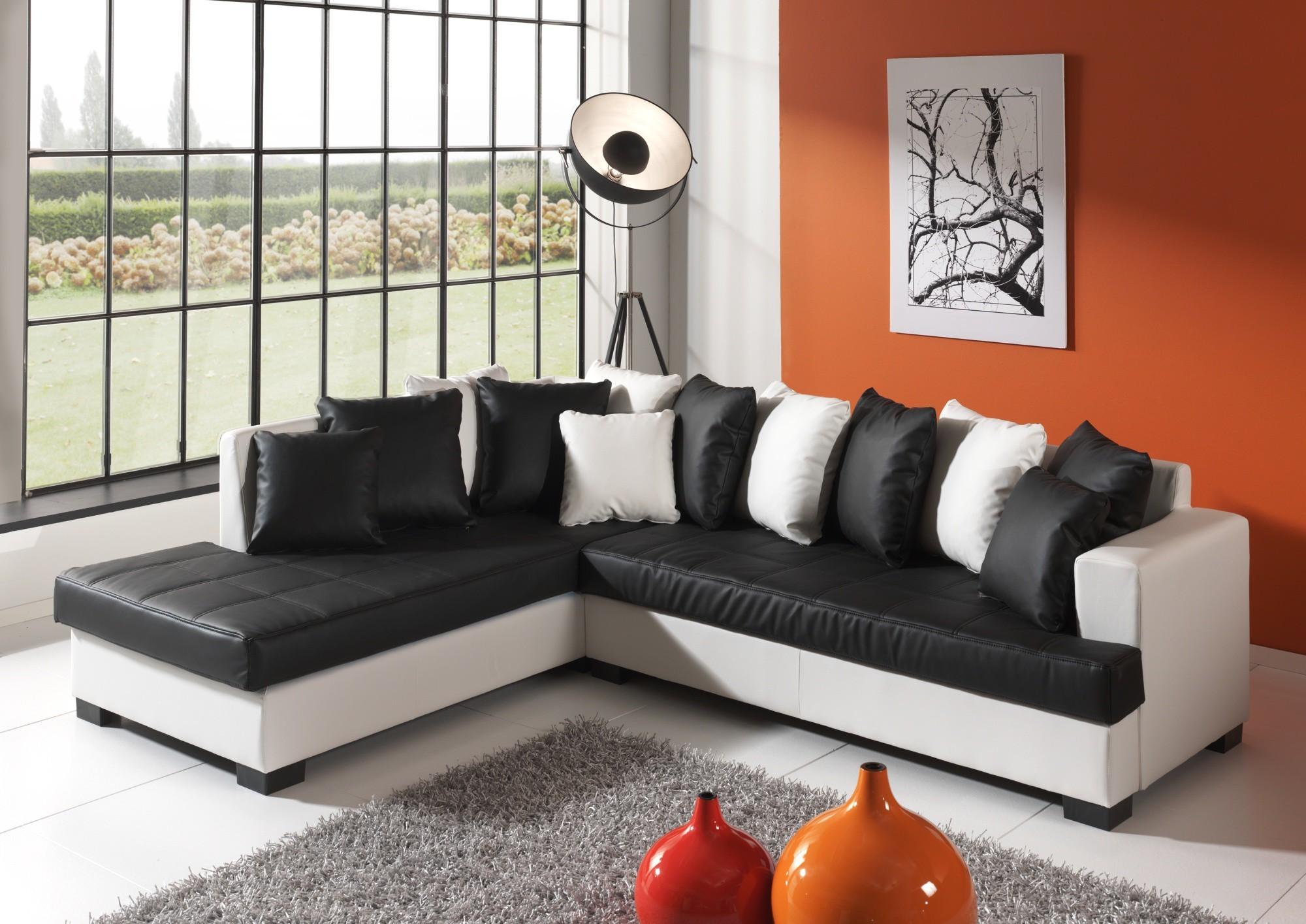 Canapé D'angle Bicolore Noir Et Blanc