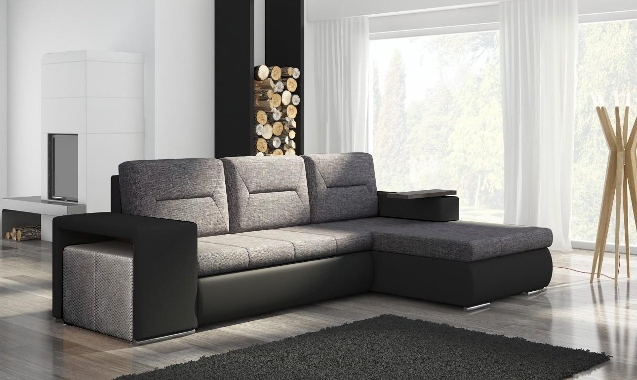 Canapé D'angle Convertible Avec Pouf