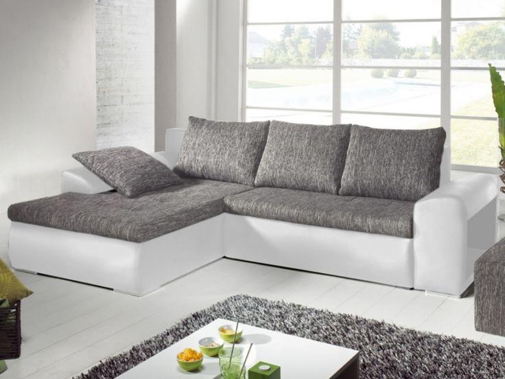 Canapé D'angle Convertible Avec Têtières Et Rangement Panamera Noir