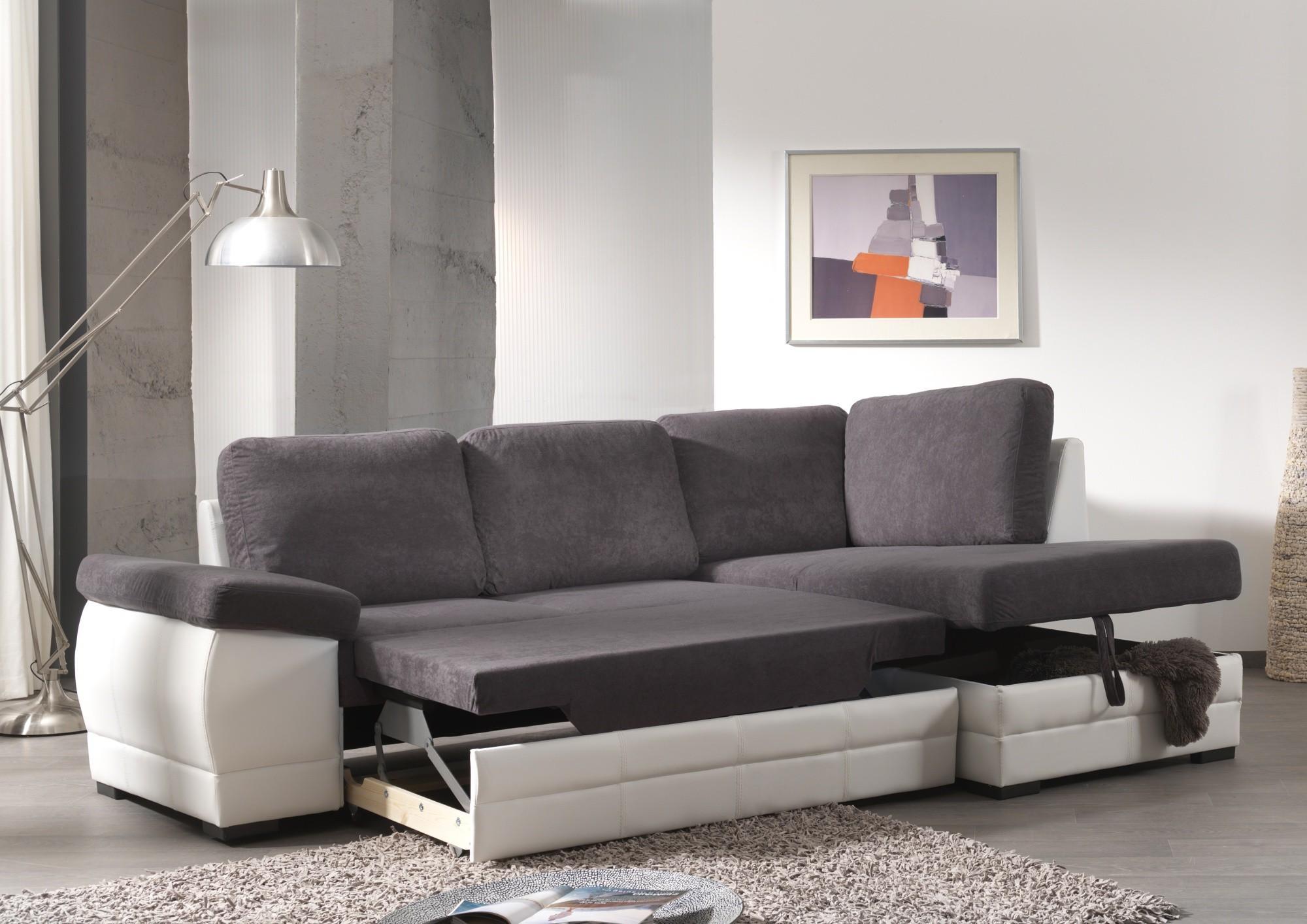 Canapé D'angle Convertible Blanc Gris