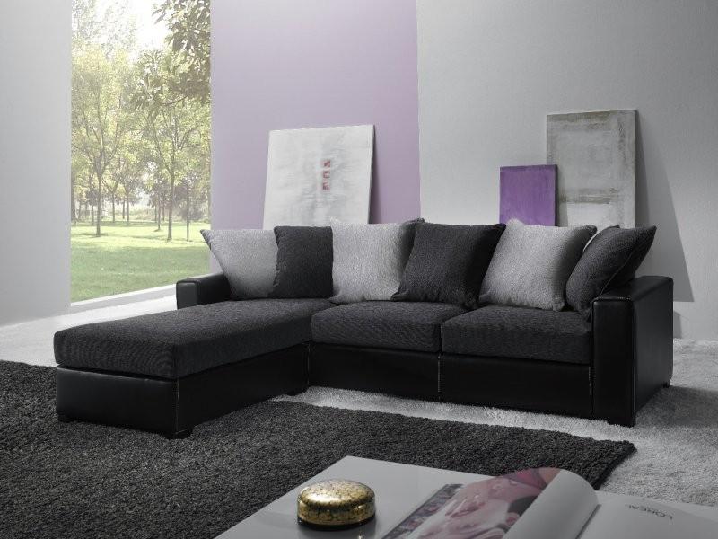 Canapé D'angle Convertible Cuir Et Tissu