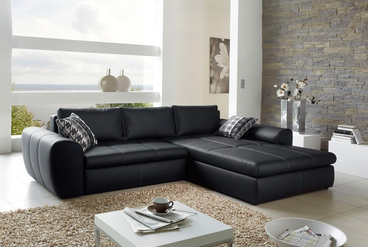Canapé D'angle Convertible Cuir Noir Et Blanc