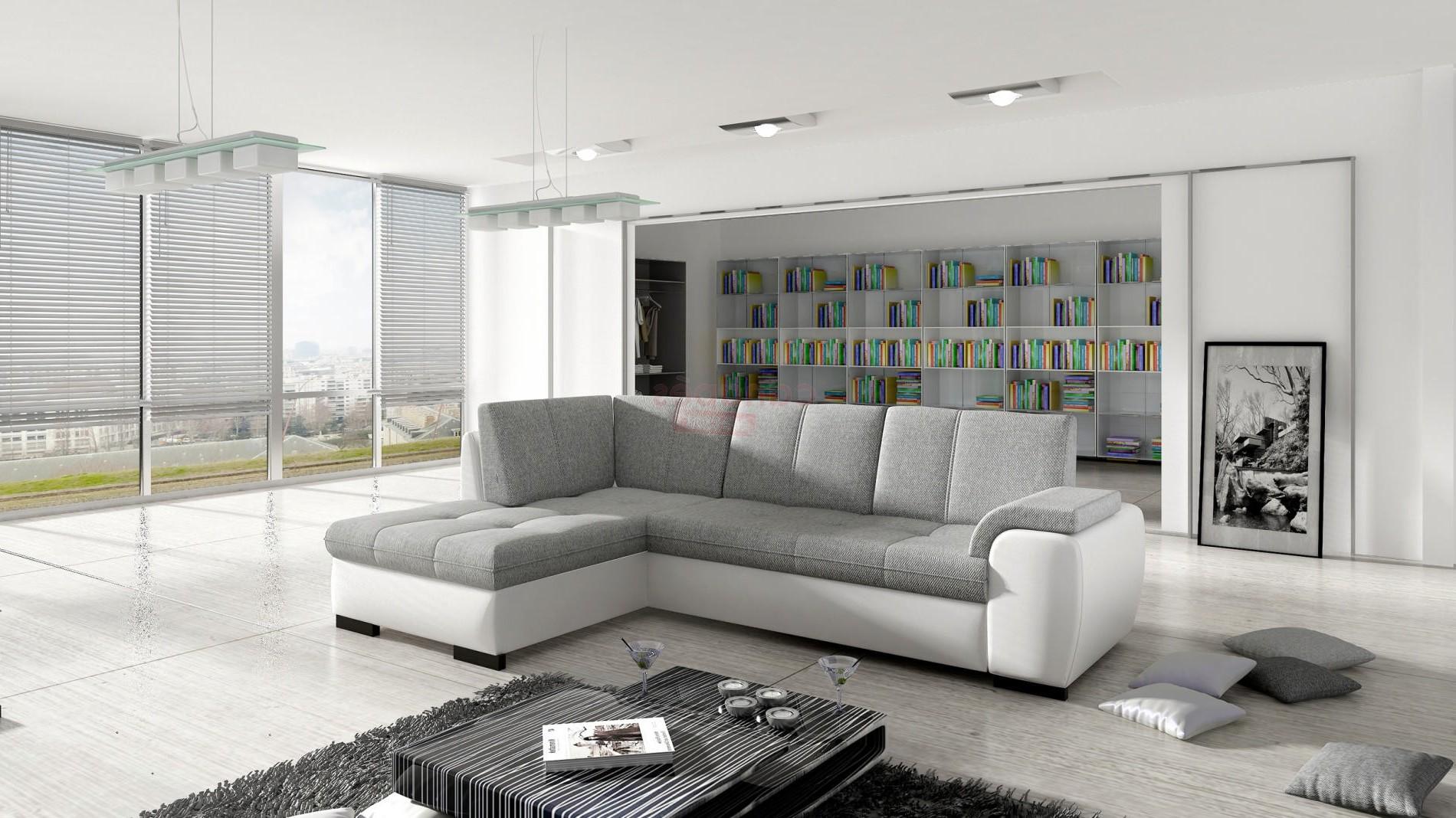 Canapé D'angle Convertible Design Osaka Tissu Et Eco Cuir