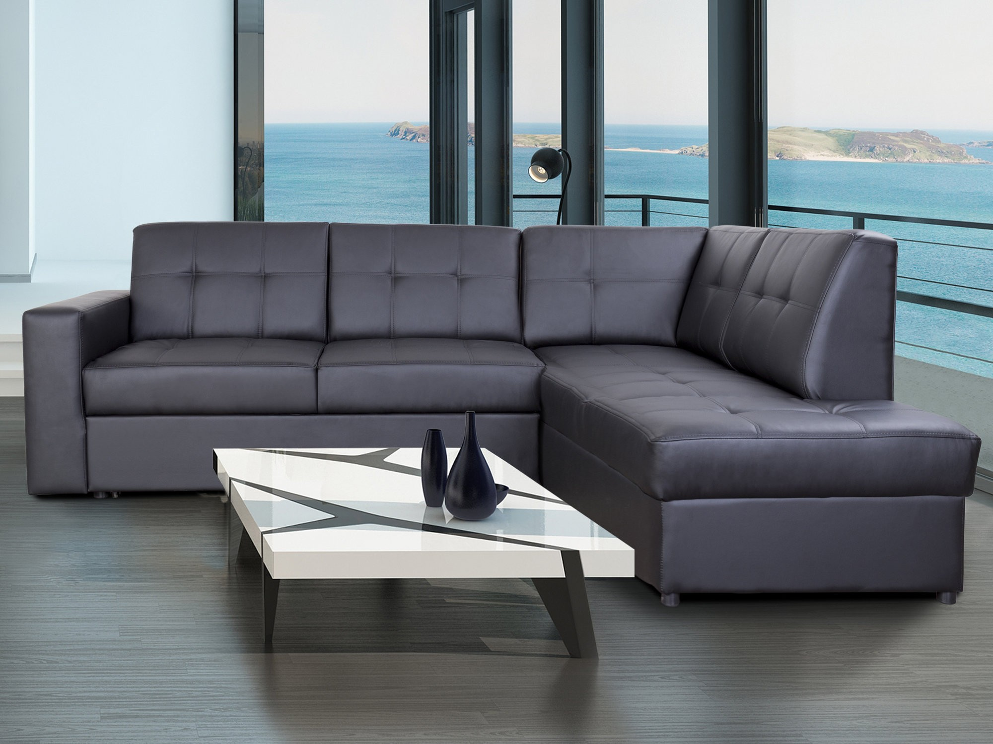 Canapé D'angle Convertible En Cuir Avec Coffre De Rangement