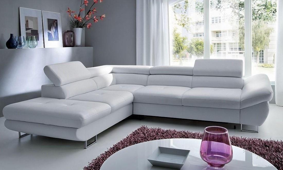 Canapé D'angle Convertible En Cuir Blanc
