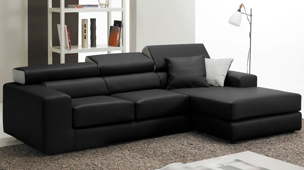Canapé D'angle Convertible En Cuir Noir