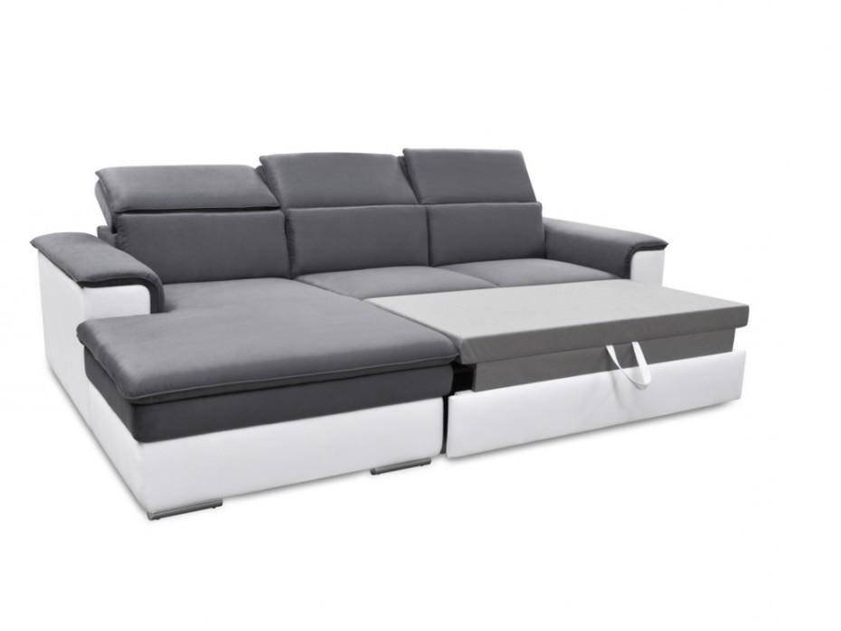 Canapé D'angle Convertible En Microfibre Et Simili Connor