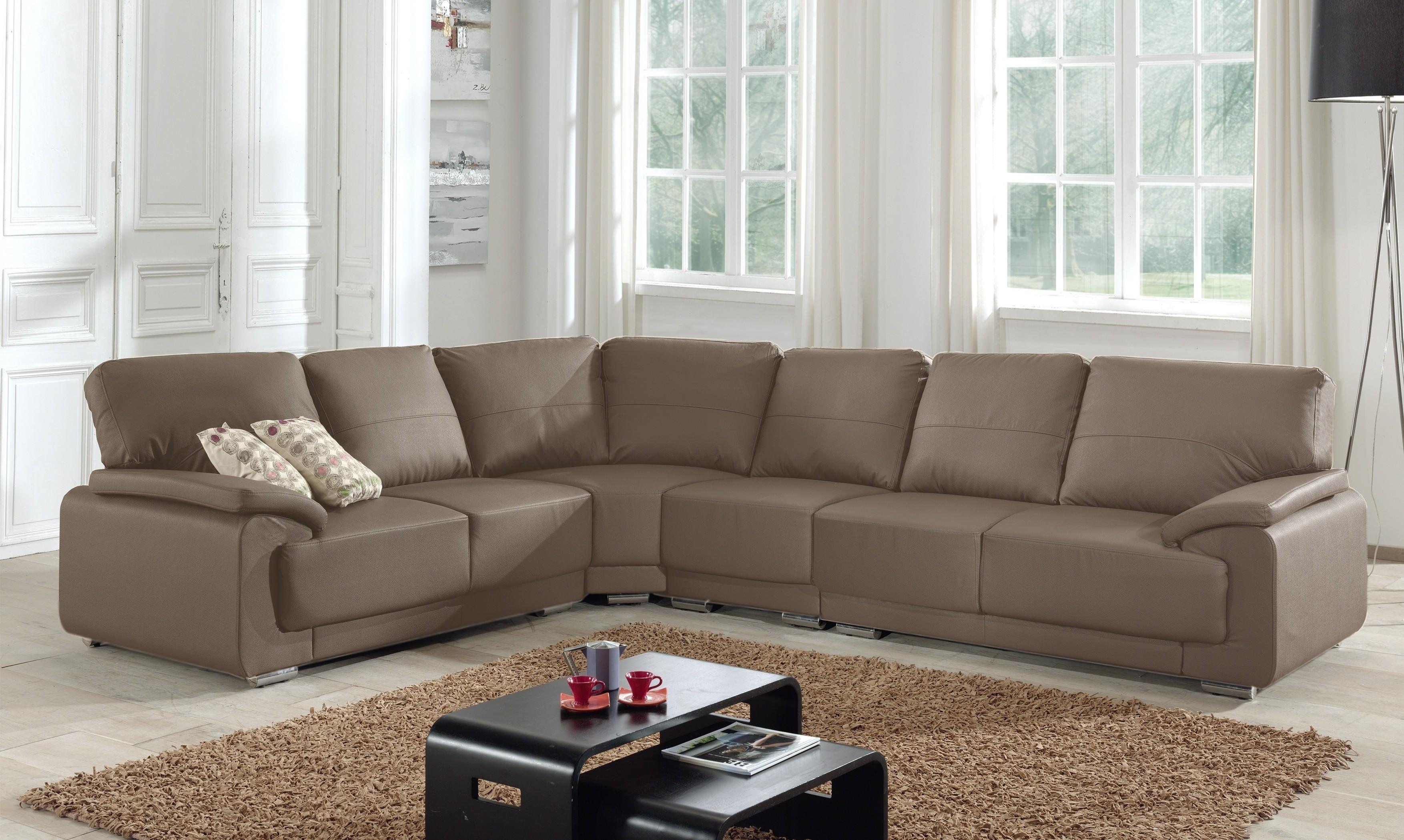 Canapé D'angle Convertible Modulable Simili Cuir