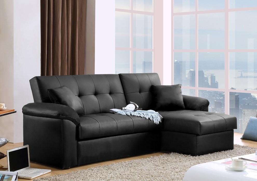 Canapé D'angle Convertible Simili Cuir Noir