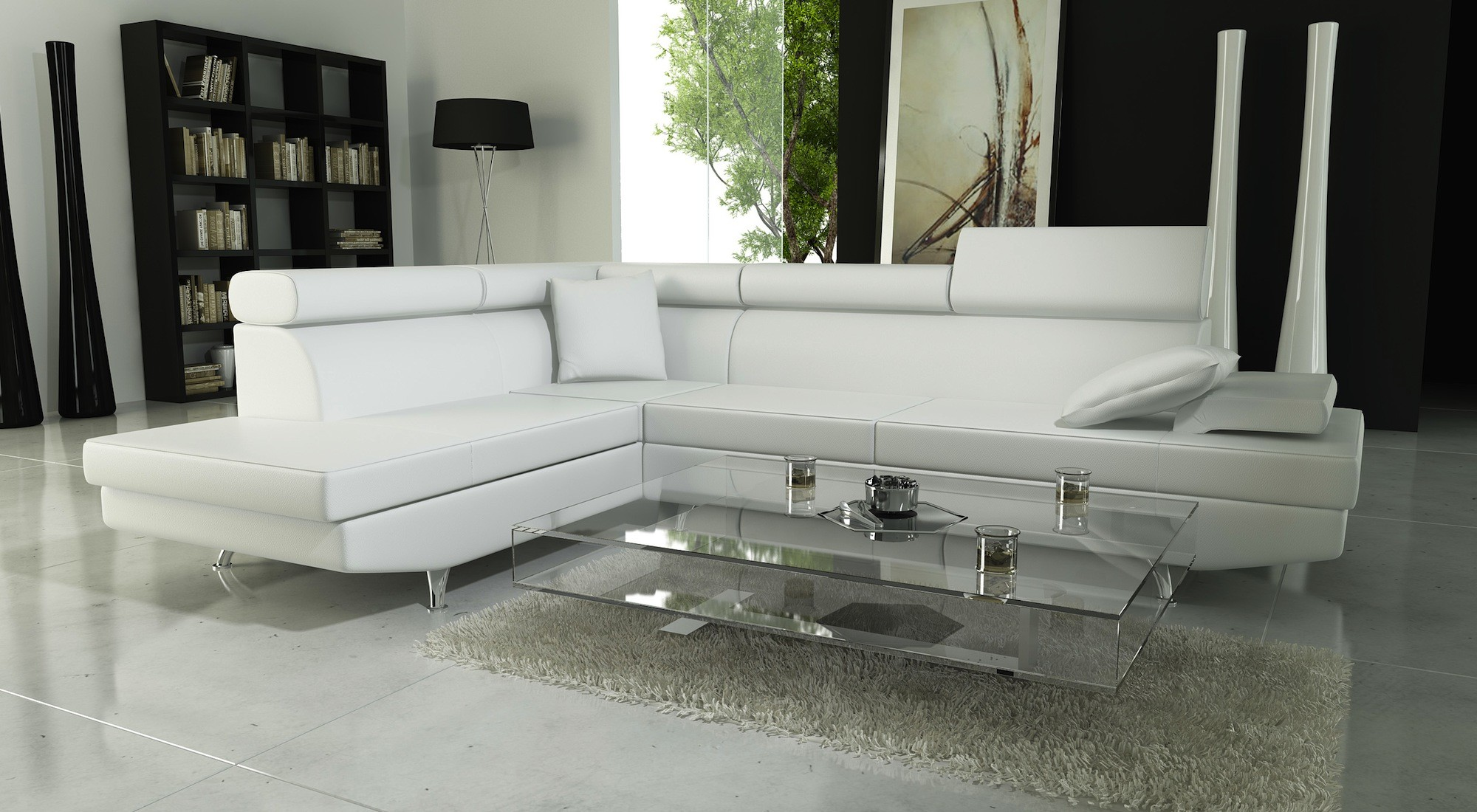 Canapé D'angle Cuir Blanc But