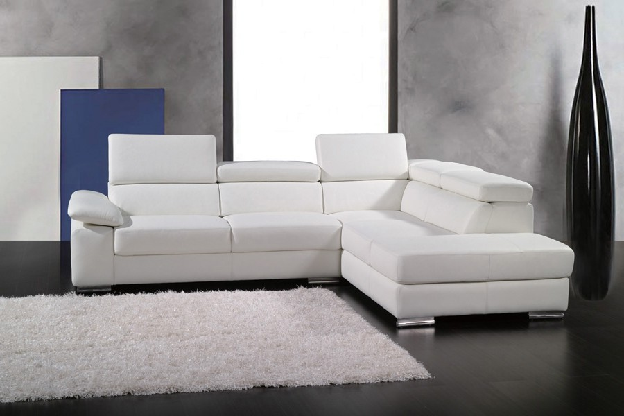 Canapé D'angle Cuir Blanc Italien