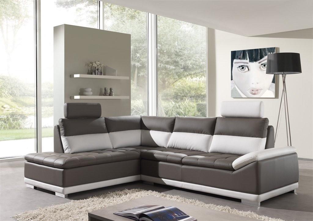 Canapé D'angle Cuir Gris Et Blanc