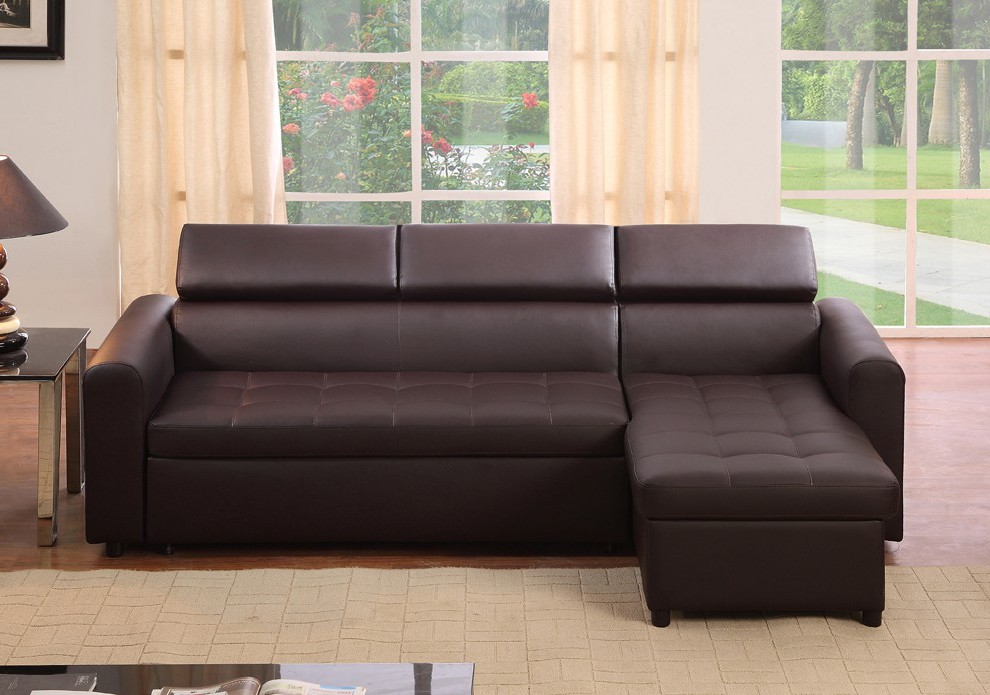Canapé D'angle Cuir Marron Convertible