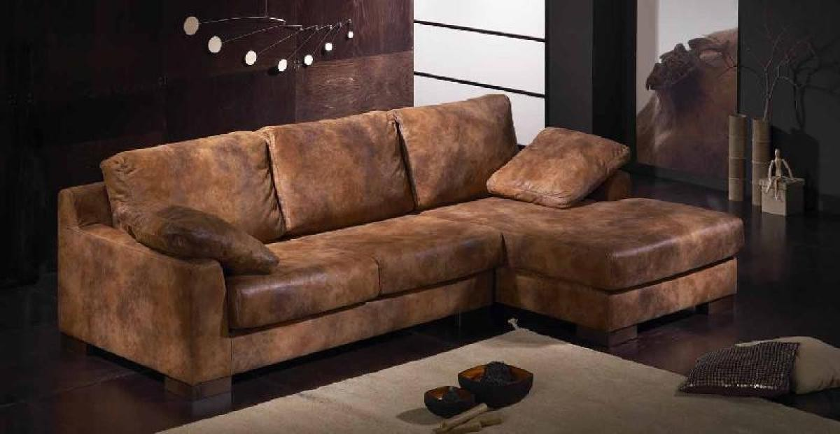 Canapé D'angle Cuir Marron Vieilli