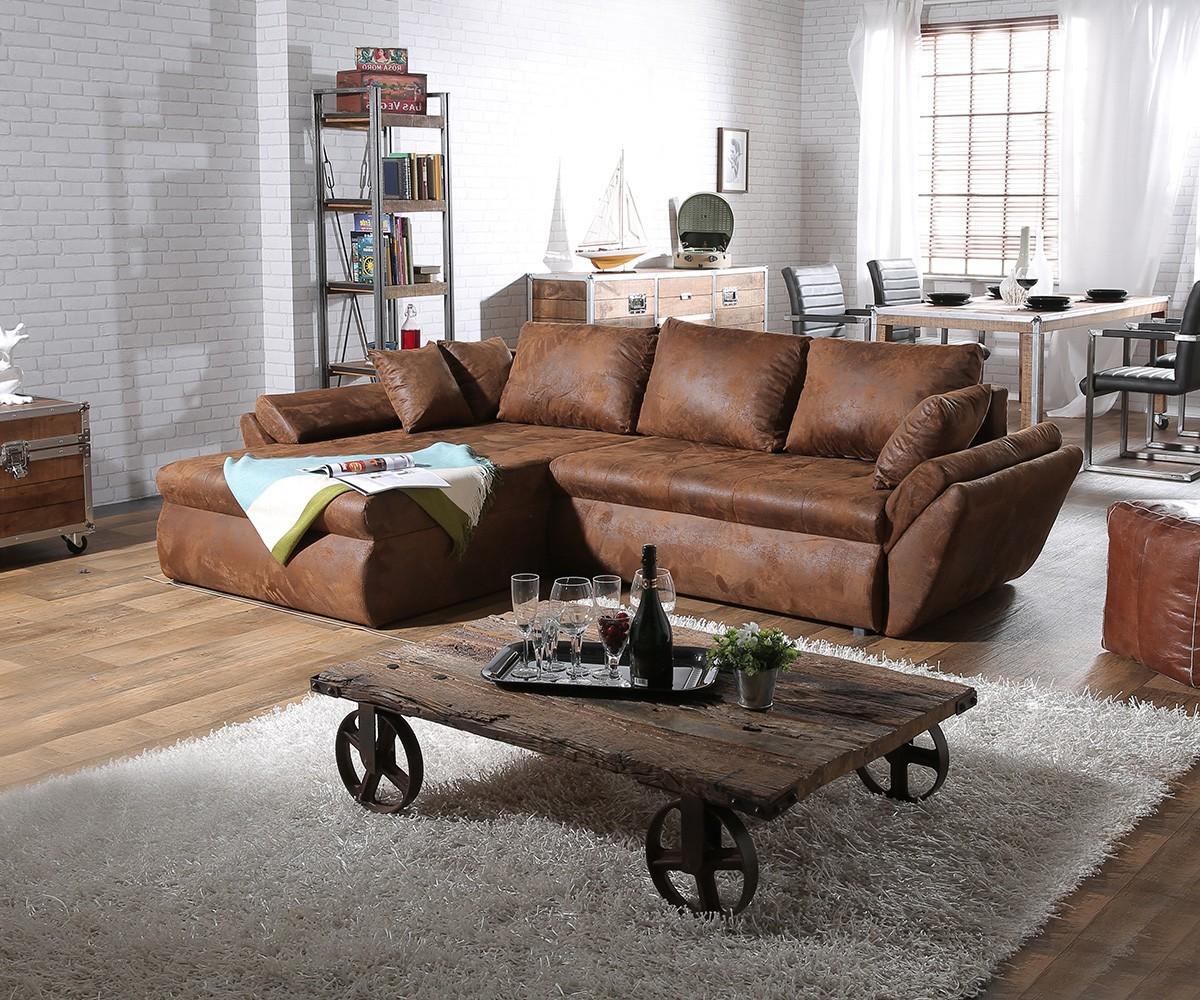 Canapé D'angle Cuir Marron Vintage