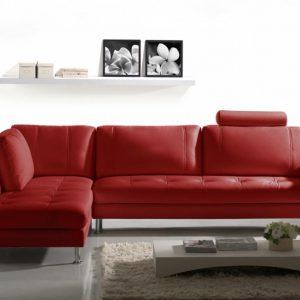 Canap d 39 angle cuir rouge canap id es de d coration - Canape rouge bordeaux ...