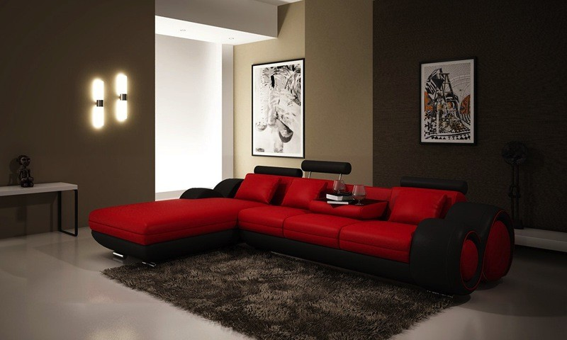 Canapé D'angle Cuir Rouge Design