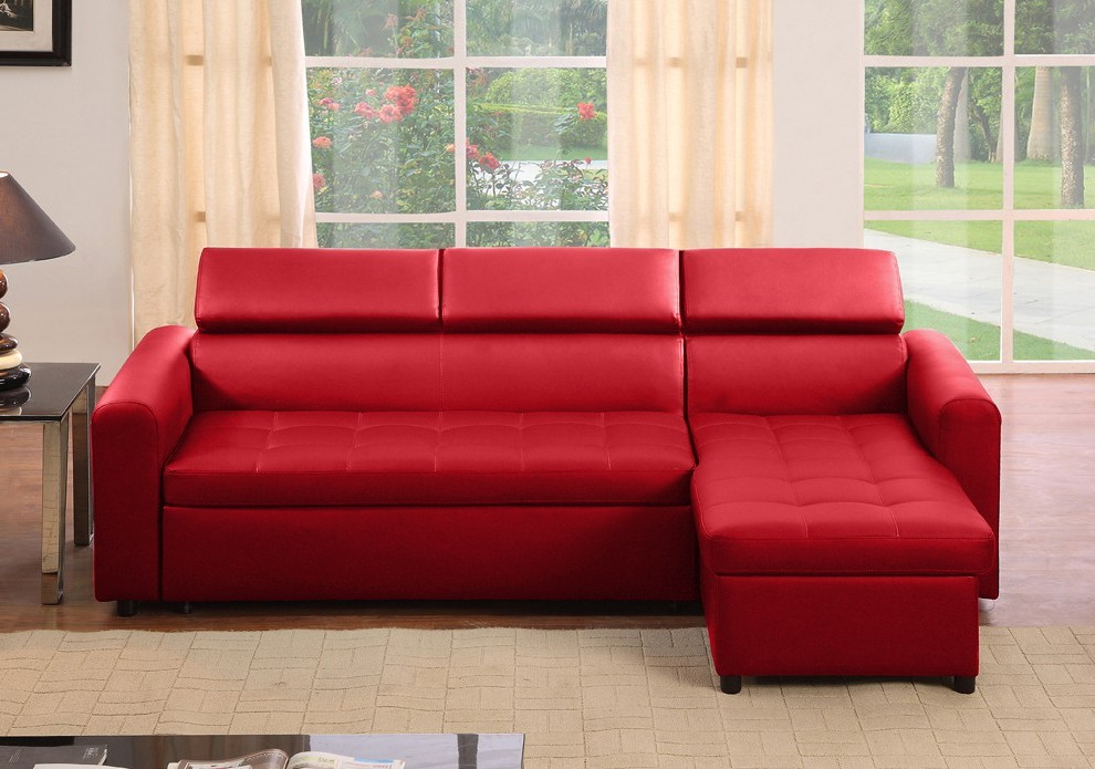 Canapé D'angle Cuir Rouge