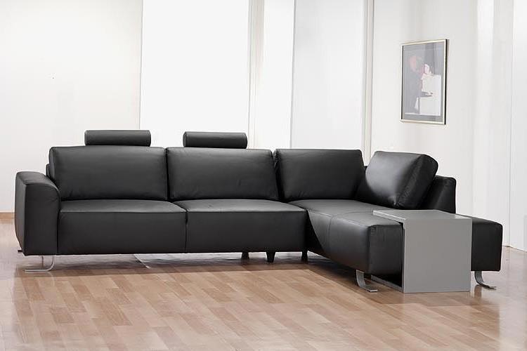 Canapé D'angle Cuire Noir